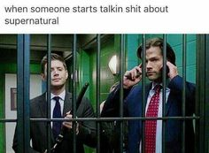 welp, nobody will talk shit about supernatural cuz that show is perfect and the haters don't know a crap about it . Castiel, Supernatural Bloopers, Supernatural Tattoo, Supernatural Imagines, Supernatural Wallpaper, Supernatural Destiel, Dean Winchester, Jensen Ackles, Spn Memes