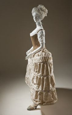 1750-1780 British Panier (side view) at the Los Angeles County Museum of Art, Los Angeles - In the photo, you can also see her shift, stays, and mule slippers.