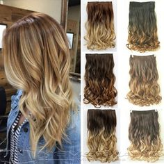 """24"""" 60cm Curly Wavy Hair Extention 3/4 Full Head Clip in Hair Extensions Curly Ombre Hairpiece 6 Color Free Shipping B10 Professional Makeup Brush Set"""