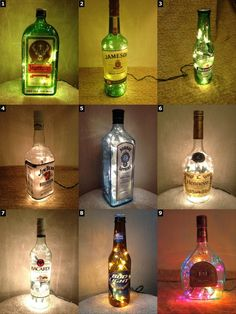 Alcohol Bottle Lamps Christmas Xmas Gift Christmas Present Flaschen Weihnachtsgirlande The post Alcohol Bottle Lamps Christmas Xmas Gift Christmas Present appeared first on Lampe ideen. Wine Bottle Crafts, Bottle Art, Alcohol Bottle Crafts, Alcohol Bottle Decorations, Wine Bottle Lamps, Liquor Bottle Lights, Lighted Wine Bottles, Bottle With Lights, Diy Bottle Lamp