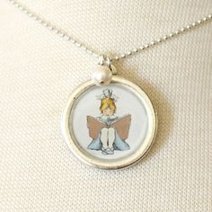 Necklace  Read With Me  With Pearl Charm by sarahjanestudios, $34.00