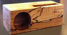 Wooden iPhone dock with passive speaker