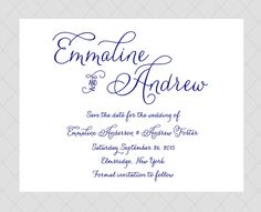 Navy Save the Date Cards  Traditional Classic by Whimsicalprints, $1.20