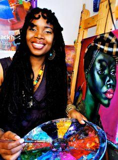 afro-art-chick:    Jamaican born painter and mixed-mediaartistTamara Natalie Madden.    an extraordinarily talented sis.