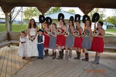 If you're throwing a western themed wedding, you might as well go all out like this bride with cowboy hats, cowboy boots and a little cowboy flower girl and ring bearer. http://my.gactv.com/great-american-weddings/boots/sgallery.esi?soc=pinterest