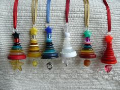 Button Christmas Tree Ornaments...cute as a necklace charm too!!
