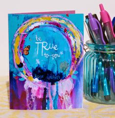 The Turquoise Paintbrush: mail something bright + happy // mixed media card Journal Themes, Art Journal Pages, Art Journaling, Junk Journal, Journal Ideas, Art Journal Backgrounds, Simple Line Drawings, Doodle Art Journals, Mixed Media Painting