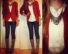 rain outfit,jeans,red cardigan,white shirt,black necklace