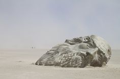 Inside the Mind of da Vinci (2016), a collaboration between Mischell Riley and Colin O'Bryan, saw a massive, acid-stained concrete model of Leonardo da Vinci's head emerge from the dust. Its hollowed-out interior—which visitors could climb inside—was filled with the artist's sketches and writings.Burning Man 2016