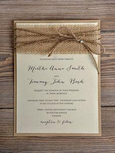 rustic country vintage burlap wedding invitations burlap weddings