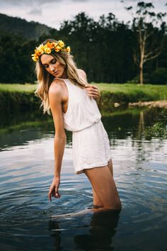 Crown of Eden - Floral crowns Floral Crowns, Wedding Vendors, Flower Crown, Yellow Flowers, White Dress, Model, Photography, Dresses, Fashion