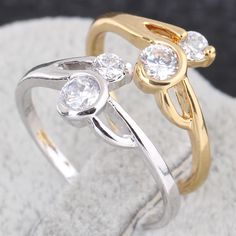 Full Sizes Fashion Copper Finger Ring  Inlay Two White Shiny Zircon Jewelry Ring Two Colors
