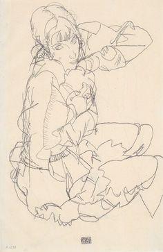 Egon Schiele, Sitzendes Mädchen, 1914.
