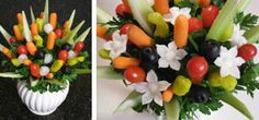 Complete Vegetable and Fruit Carving Course - WOW your Friends! Edible Fruit Arrangements, Edible Bouquets, Edible Flowers, Fruit Presentation, Watermelon Basket, Vegetable Bouquet, Veggie Display, Fruit Creations, Vegan Wedding Cake
