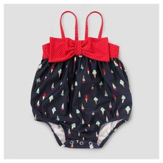 Baby Girls' Ice Cream Print One Piece Swimsuit Cat & Jack - Navy 12-18M, Infant Girl's, Size: 12-18 M, Blue