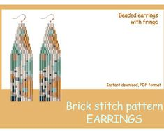 by LilibeadPatterns on Etsy Beaded Earrings Patterns, Bead Loom Patterns, Beading Patterns, Stitch Patterns, Animal Print Earrings, Brick Stitch Earrings, Seed Bead Jewelry, Loom Beading, Bead Weaving