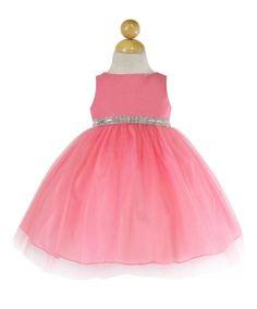 Girls Dress Style B754 - CORAL Sleeveless Satin and Organza Dress with Embellished Rhinestone Waist