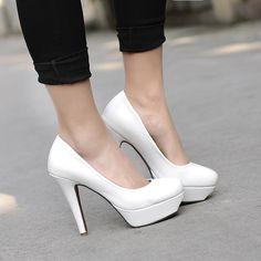 New arrival White PU High Heels