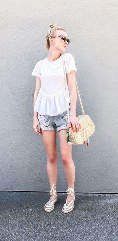 Casual summer outfit - white peplum tee, one teaspoon denim shorts, Oysho basket bag and espadrilles.