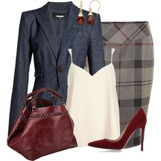 Skirt and Blazer by lbite on Polyvore featuring polyvore fashion style River Island Dsquared2 Barbour Gianvito Rossi Caroline De Marchi