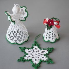 Gorgeous Christmas set of 3 crocheted ornaments. It is available in gold, silver, red and green colors of edging.Items similar to Crochet ornaments Crochet Christmas set White silver ornaments Set of Bell, White angel, Snowflake Gold Silver Red Green Fabric Christmas Trees, Crochet Christmas Decorations, Crochet Decoration, Crochet Ornaments, Christmas Crochet Patterns, Holiday Crochet, Crochet Snowflakes, Christmas Crafts, Green Christmas