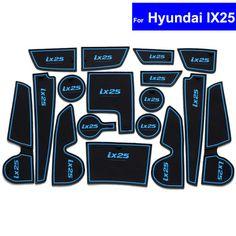 17Pc Non-slip Car Interior Door Gate Slot Mats Carpets Position Cup Holder Pads For Hyundai IX25 Door Groove Mat Free Shipping