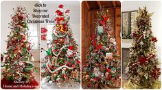 Decorated Christmas Trees. Shop ornaments, floral stems, ribbon and decorations shown on designer decorated Christmas tree in the Shelley B Home and Holiday Decorated Christmas tree photo gallery.