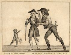 """""""Ah! Qu'il est donc drole! Hai! Dis donc ma lorgnette te fait peur?""""  © The Trustees of the British Museum;  After Carle Vernet, 1797; Satire on the Incroyables: a republican seizes an Incroyable by the arm and quizzes him through a lorgnette, while a boy holds up a caricature by Darcis after Carle Vernet and points at them."""