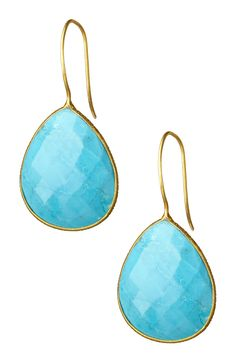 18K Gold Clad Faceted Turquoise Drop Earrings