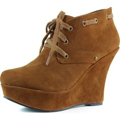 """Save 10% + Free Shipping Offer *   Coupon Code: Pinterest10 Material: Man Made Material. Approx 4.5"""" heel, 1.5"""" platform True to size, Lace Up Oxford Wedge booties Great pair of casual wedge heel booties for your daily wear. Featuring round toe front, lace up closure, and finish with rubber out sole. Women's Nature Breeze Carmela-02 Dark Tan Wedge Boat Heel Booties Shoes"""
