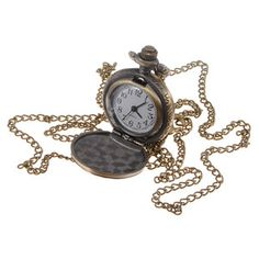 Antique Butterfly Quartz Pocket Watch Necklace High quality and precise movement Polished and Copper-toned Alloy Case with spring buckle Copper-toned Alloy Chain The face case is made of high quality resistant-scratch mineral glass White Enamel Dial with Large 1-12 Black Arabic Numerals for Greater Clarity and Small 13-24 Black Arabic Numerals, Three Black Hands Perfect addition to a formal or casual dressing Pop Open Flip Front Cover with Press Button at the Top of the Watch