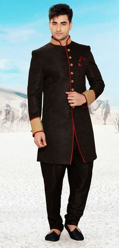 USD 208.76 Black Banarasi Indo Western Sherwani 47952