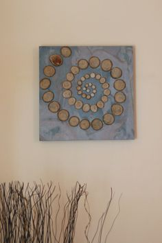 Wall art wood slice on slate stone sculpture by MellowNature, $65.00