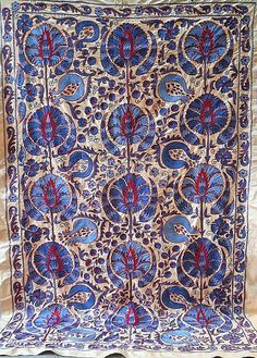 Village Drawing, American Houses, Contemporary Embroidery, Embroidery Motifs, Ikat Fabric, Fabric Strips, Central Asia, Stain Colors, Handmade Decorations