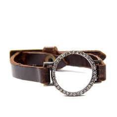 Elegant open circle sparkling with Black Diamond Swarovski Crystals on vintage brown leather. Uniquely designed by Gina Riley and handmade in the Rebel Designs studio in New York City. Comes in a gift box. Black Diamond, Metal Jewelry, Artisan Jewelry, Swarovski Crystals, Brown Leather, Bling, Rebel, Small Circle, Bracelets