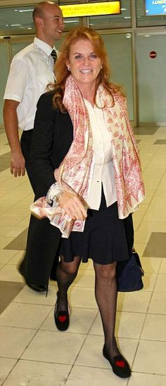 Sarah Ferguson, the Duchess of York, arrived in Belgrade's Nikola Tesla Airport for a charitable visit with the Djokovic Foundation, 16 Sep 2013