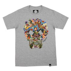 Flower Skull T Shirt Crew Neck T Shirts Graphic Tee DRIFT OUT 058