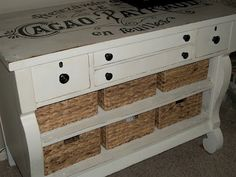 Restored furniture from Three Mango Seeds. Love baskets instead of drawers, this would be really cute in vintage blue and white
