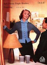 "Knitting Pattern Lady's Jaunty Coat to knit in 4ply for 34-36"". 1950s P&B 764"