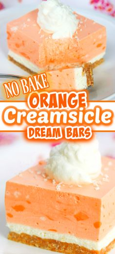 Orange Creamsicle Dream Bars – the perfect NO BAKE refreshing summer dessert! Everyone's taste buds will love the sugar cone crust, cheesecake layer, and orange cream topping. It will take you back to the days of buying an Orange Creamsicle off the ice cream truck. Easy No Bake Desserts, Homemade Desserts, Frozen Desserts, Easy Desserts, Delicious Desserts, Summer Desserts, Baking Recipes, Cake Recipes, Dessert Recipes