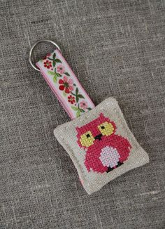 RESERVED Cross-stitched linen keyring, keychain (owl, hot pink) - by Plushka on madeit