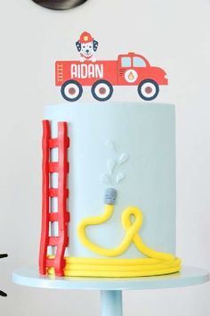 Check out this fun vintage fire truck birthday party! Love the birthday cake! See more party ideas and share yours at CatchMyParty.com Truck Birthday Cakes, Boy Birthday, Bridal Shower Cakes, Baby Shower Cakes, Firetruck, Rustic Cake, Holiday Cakes, Gorgeous Cakes, For Your Party