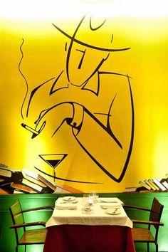 """""""Di tutto restano tre cose: la certezza che stiamo sempre iniziando, la certezza che abbiamo bisogno di continuare, la certezza che saremo interrotti prima di finire. Pertanto, dobbiamo fare: dell'interruzione, un nuovo cammino, della caduta, un passo di danza, della paura, una scala, del sogno, un ponte, del bisogno, un incontro."""" — Fernando Pessoa immagine : Fernando Pessoa wall paint in the restaurant """"Café no Chiado"""" Lisbon , Portugal"""
