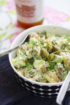 Sitruunainen avokado-perunasalaatti New Recipes, Salad Recipes, Vegan Recipes, Vegan Food, Recipies, Easy Delicious Recipes, Yummy Food, Cocktail Party Food, Potato Salad