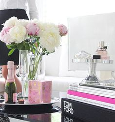 clear surfaces, pink champagne, peonies, tom ford FLOWERBOMB…What more could you want, except for a piece of avocado on toast on the side xx