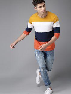 Buy HERE&NOW Men Mustard Yellow & Navy Colourblocked T-shirt online in India at best price.Mustard and navy blue colourblocked T-shirt, has a round neck, short sleeves Denim Jacket Men, Denim Jackets, Jean Jackets, Popular Mens Jeans, Ck Jeans, Mens Essentials, Calvin Klein Jeans, Mustard Yellow, Tshirts Online