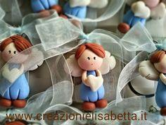 Creazioni in mais Elisabetta: Bomboniere nascite e battesimi Biscuit, Polymer Clay Ornaments, Pasta Flexible, Cold Porcelain, Xmas, Baby Shower, Sacramento, Angels, Party