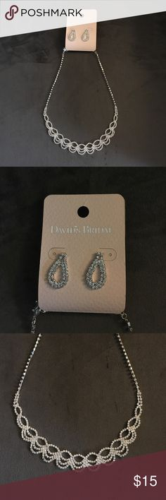 David's Bridal Necklace and Earrings New with tags. Going to use for my wedding but was gifted a necklace and earrings on wedding day. David's Bridal Jewelry Bracelets