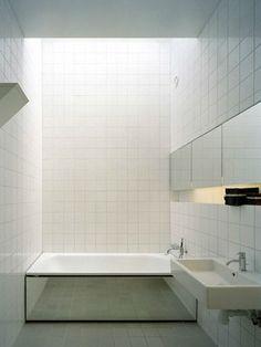 A skylight above the bath.