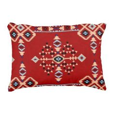 "Title : 29 Tribal Native American Red Symbolic Print.JPG Decorative Pillow  Description : Words to describe Tribal; ""Native-American's, Indian, Tribes, ""Tribal-Prints"", ""Geometric-Patterns"", ""Miscellaneous-Shapes"", Diamonds, Squares, Arrows, ""Repetitive-Patterns"", ""Fabric-Weaving"", Tapestry, Beads, ""Animal-Bones"", ""Ethnic-Tribes"", Cultural, Cultures, ""Southwest-Patterns"", ""Animal-Pattern-Prints"", ""Ethnic-Prints"", Ganado, ""Native-Traditional-Patterns"", Ikat, ""Navajo-Art"", Weaving…"